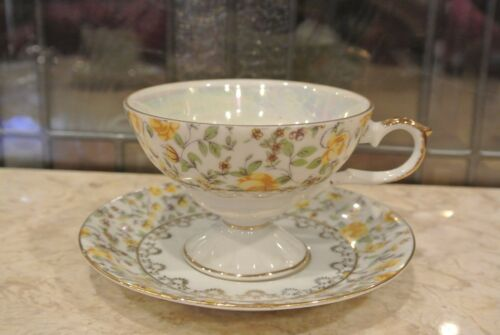 Vtg Iridescent Napco Hand Painted Yellow Roses and Gold Pattern Cup and Saucer