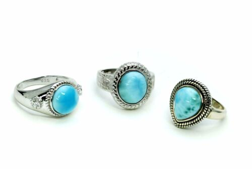 Larimar Natural (Wholesale) 3 Rings Premium Jewelry. .925 Sterling Silver