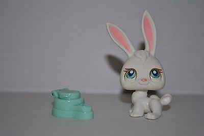 LPS Littlest Pet Shop 2004 White Bunny Rabbit Long Pink Ears #3 Blue Eyes Hasbro for sale  Roseville