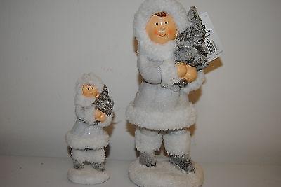 2 Figuren Schneekinder mit Tannenbaum 26 cm und 14 cm Wolle Weihnachtsdekoration