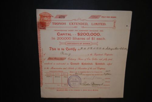 MALAY / MALAYSIA: Tronoh Extended, Limited (Penang), shares, 1915