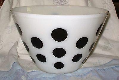 """Fireking Anchor Hocking Black White Splash Polka Dot 5 1/2"""" Mixing Bowl"""