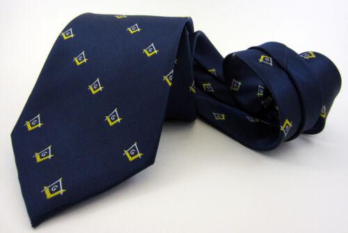 Masonic Tie Navy Gold Square & Compasses Polyester Poly Freemason Mason
