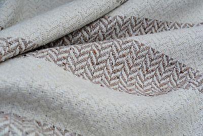 Luxury Herringbone Fabric - LUXURY UPHOLSTER NATURAL TONE MILK WHITE&HAZEL BROWN CHUNKY WEFT WEAVE WOOL D138