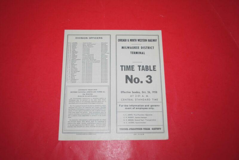 1958 Chicago & North Western Milwaukee Terminal Dist ETT #3