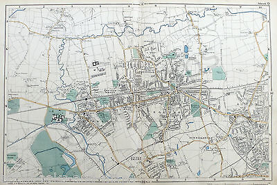 LONDON, 1900 - EALING, HANWELL, GUNNERSBURY, ACTON - Original Antique Map,