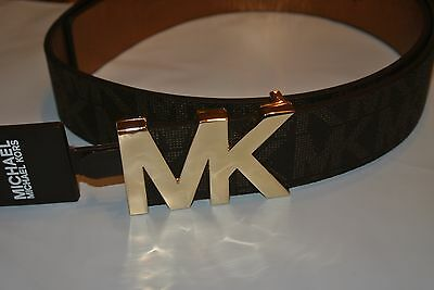 NWT MICHAEL KORS MK LOGO FAUX LEATHER SIGNATURE BELT BROWN Size Medium