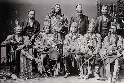 Delegation of Crow Nation Indian Chiefs, 1880, Native American - Modern Postcard