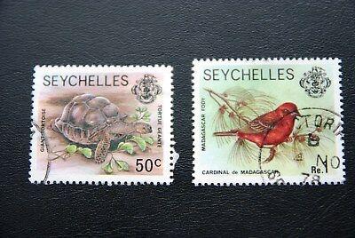 Seychellen, Schildkröte/Vogel (2 Marken gestempelt)