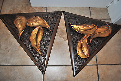 Pair of Vintage Mid Century Burwood Triangle with Leaves Hanging Wall Plaques