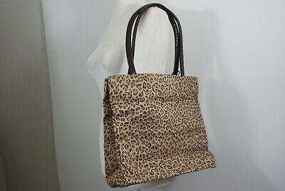 Leopard Nylon Tote (Neiman Marcus Leopard Print Faux Suede Tote Bag Purse Nylon Lining Red or Brown)