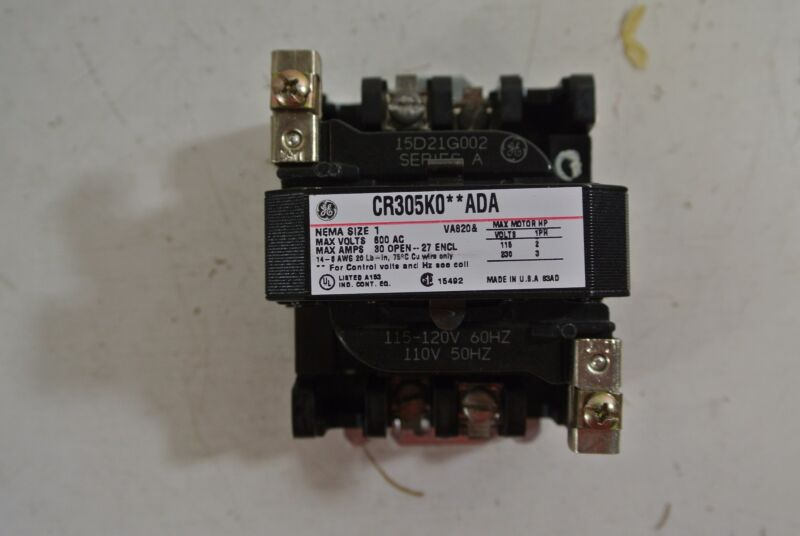 GE General Electric Size 1 Contactor Cat: CR305K0**ADA 120 v coil