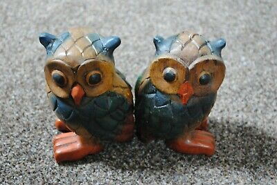 Pair of Wooden Owl Ornaments Book Ends