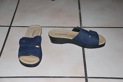 Mules nu-pieds Sandales en cuir synthétique bleu marine Pointure 36 NEUVES!