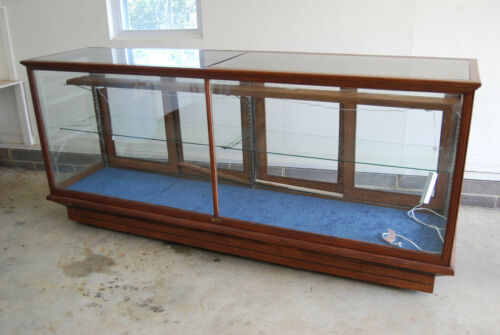 ANTIQUE OAK 8 FOOT GLASS DISPLAY CABINET