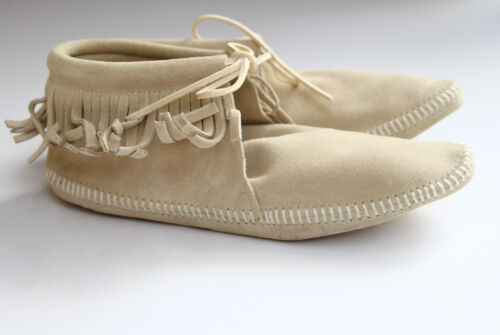 Cream 9 Gray Off White Handmade Leather Fringe Mocassin Booties Slippers