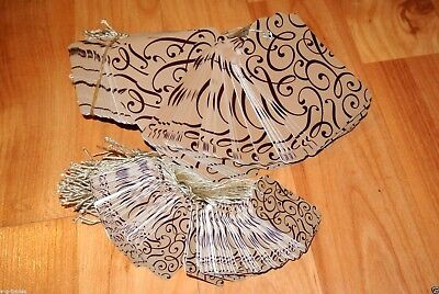 Lot 200 100 Large 100 Small Scalloped Cocoa Print Paper Price Tags W String