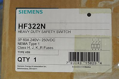 Siemens Hf322n 3p 60a 240v Fusible Disconnect Switch - New In Box