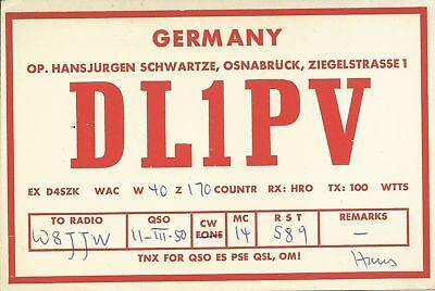 OLD VINTAGE DL1PV OSNABRUCK GERMANY AMATEUR RADIO QSL CARD