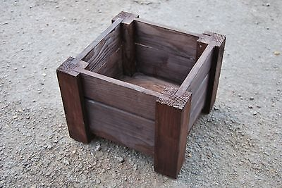 Wooden Square Pot, Set of Two, 35 x 35 x 30 cm of Solid Wood -  Ebony/Black