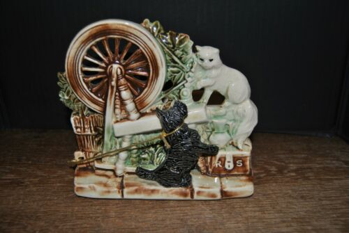 Mccoy Cat And Dog On A Spinning Wheel Planter Great Colors