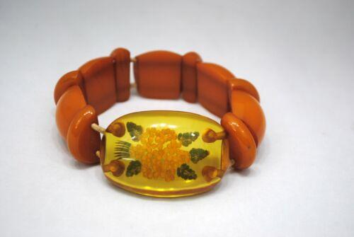 Vintage Reverse Carved Apple Juice Bakelite Stretch Bracelet