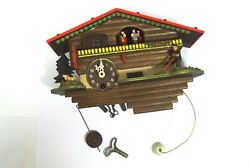 Working German Black Forest Reuge animated dancers music mini wall clock w/ key