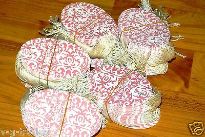 Lot 100 Large Oval Pink Damask Print 3 12 X 2 14 Merchandise Price Tags Strung