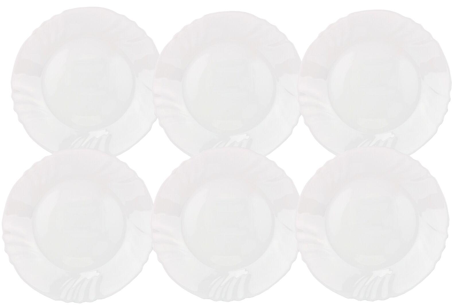 6er Set Essteller Ebro Hartglas weiß flach rund 23,5cm Geschirr Speiseteller Neu