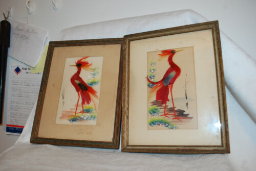 Vtg. Framed Pair of Tropical Birds Pictures Made with Real Bird Feathers Art