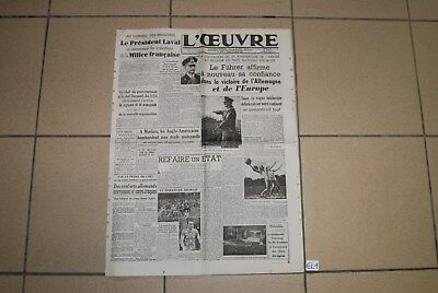 EL1 Old French Journal - L'oeuvre - 1943  - WW2 Hitler War - Militaria