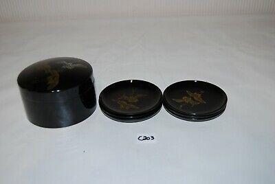 C203 6 sous verres - laqué noir - style asiatique
