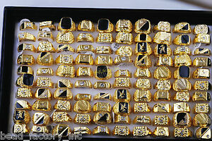 wholesale jewelry mixed lots 20pcs men's gold plated rhinestone rings freeship