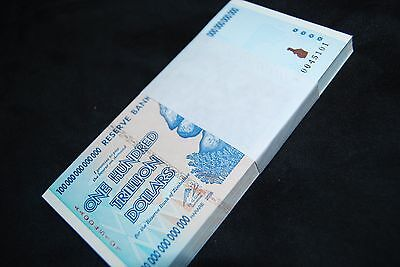 HALF BRICK (5 BUNDLES) ZIMBABWE 100 TRILLION | 500 BANKNOTES | UNCIRCULATED!