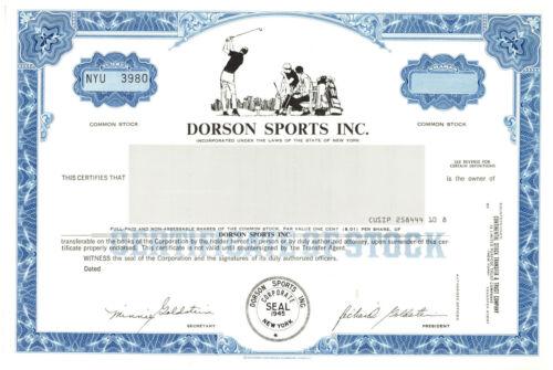 Dorson Sports, Inc. Stock Certificate