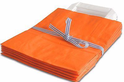 Orange Papiertüten (5 Stück Papiertragetaschen orange 18x8x22 cm Papiertüten Tragetaschen )