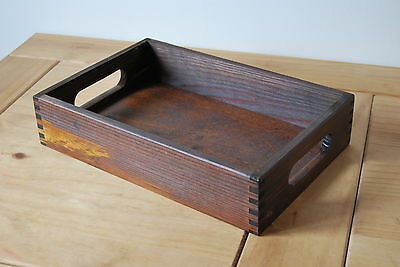 Plain Wood - Wooden Serving Tray 30cmx20cmx 6.3cm in Dark Brown Color