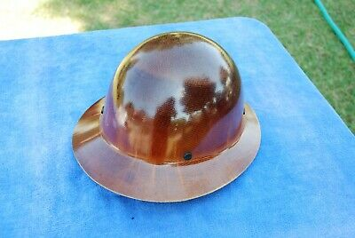 Vintage Msa Hard Hat Brown Skullgard Class G Full Brim Ratchet Suspension