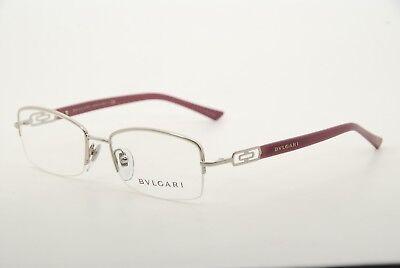 New Authentic Bvlgari 2094 349 Silver/Purple 52mm Frames Eyeglasses Italy RX