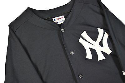MENS XL SEWN New York Yankees Jersey MLB Baseball COOL BASE Blue Majestic