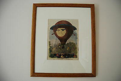 Montgolfier Hot Air Balloon.  Print From Illustrated London News 1864