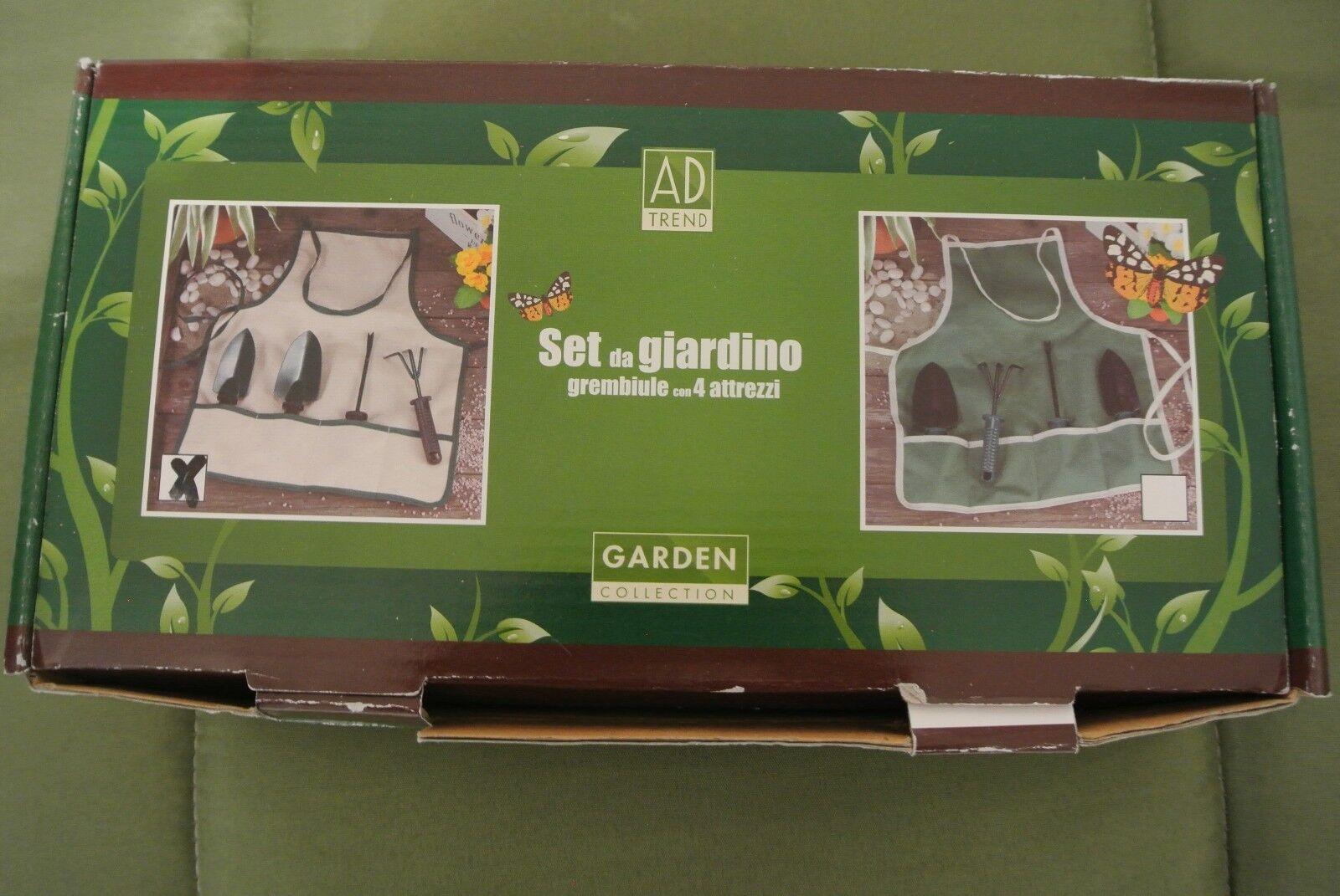 Set attrezzi da giardino grembiule + 4 attrezzi