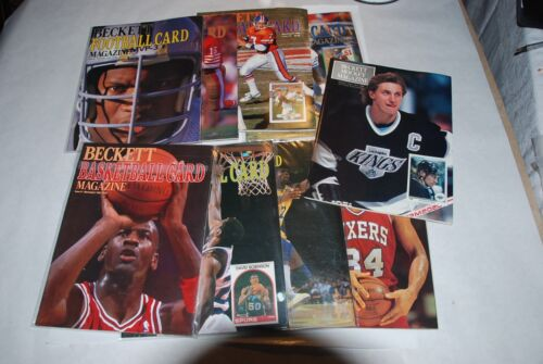 9 BECKETT SPORTS MAGAZINE PRICE GUIDES BASKETBALL 1-4, FOOTBALL 1-4 & HOCKEY # 1