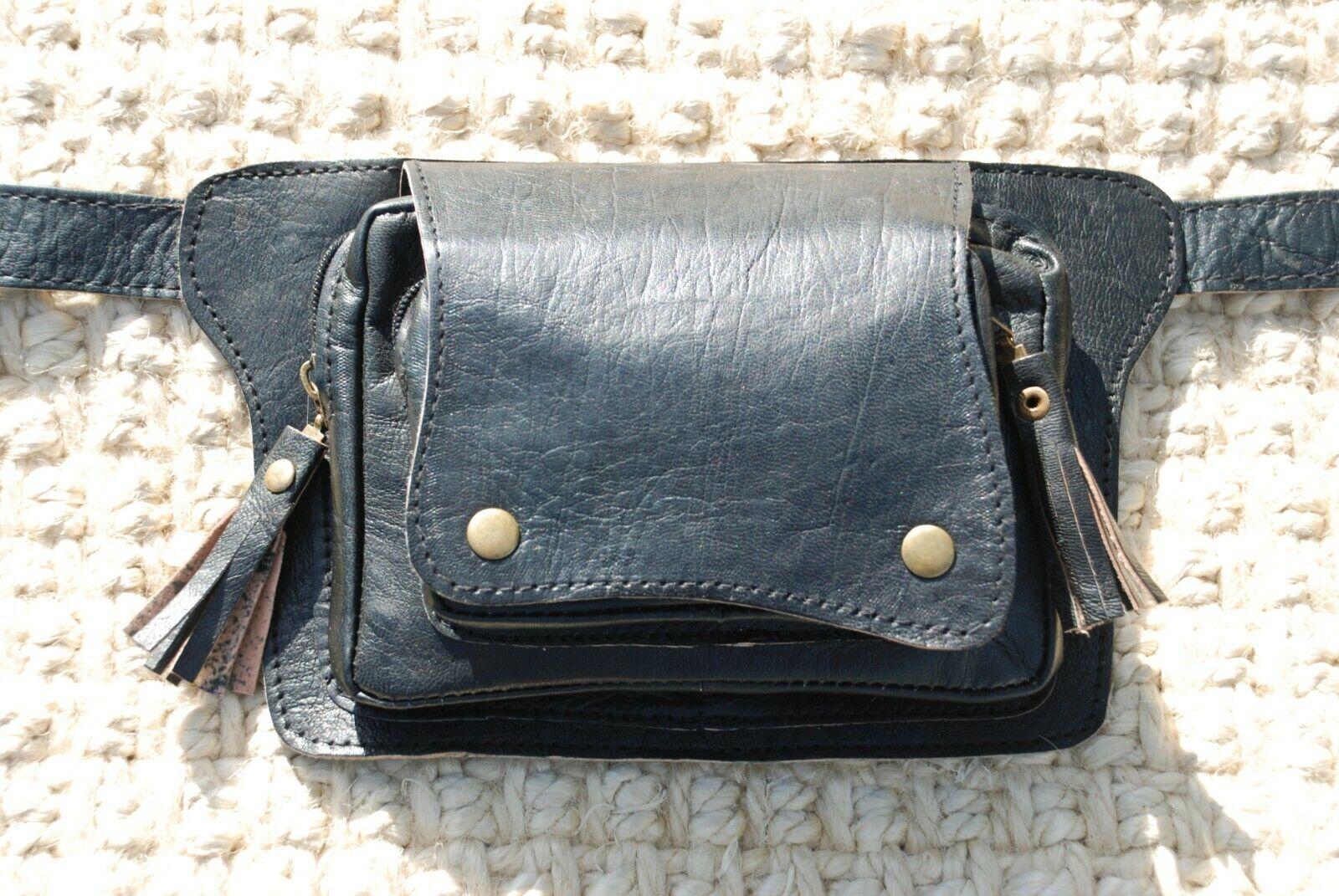 Hip Bag, Leather Belt Bag, Fanny Pack for Women, Black Hip B