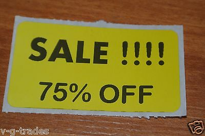 Lot 200 Yellow Sale 75 Off Price Labels Stickers Tags Retail Store 2x1 Inch