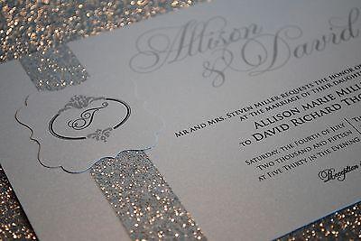 1 Sample Silver Wedding Invitation With Beautiful Glitter Band
