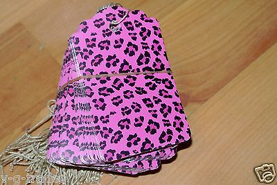 Lot 1000 Large Scalloped Pink Leopard Print Paper Merchandise Price Tags Strung