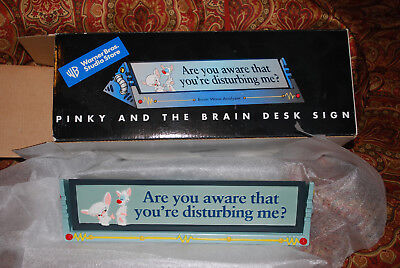 PINKY AND THE BRAIN DESK SIGN. NIB ! OPENED FOR PICTURES A RARE FIND !!.