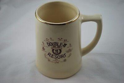 Double JJ Resort Rothbury Michigan Souvenir Ceramic Mug Coffee Cup Gold Rim NICE