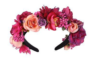 trachten blumenkranz haarreif blumen haare haarband haarschmuck hochzeit pink. Black Bedroom Furniture Sets. Home Design Ideas